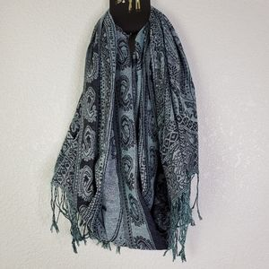 Mixit Jacquard Paisley Oblong Scarf Navy and Green